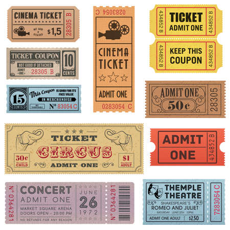 movie theater: A collection of 11 vector grunted Tickets, Vector file is organized with layers, with every ticket divided into 3 layers, separating Background Shape from the texture effect and text. Illustration