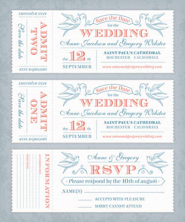 3 hi detail Vector Grunge Tickets for Wedding Invitations and Save the Date  Each ticket is on 3 different layers with Text, texture effect and background shape separated