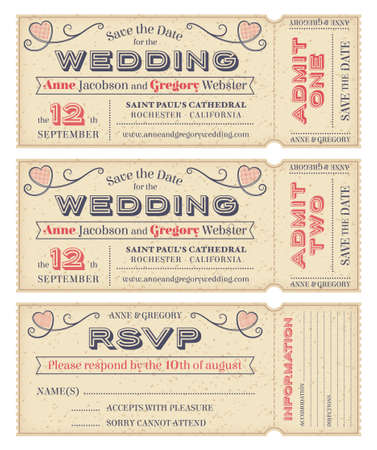 3 hi detail Grunge Tickets for Wedding Invitations and Save the Date 向量圖像
