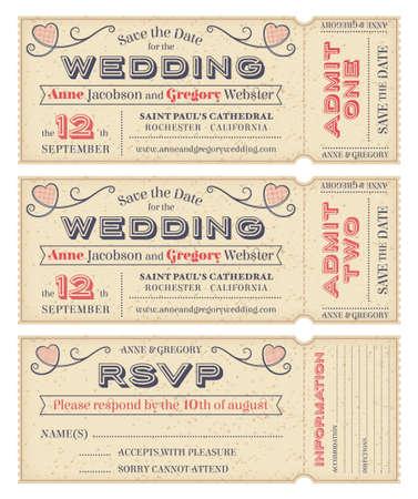 3 hi detalle Grunge Las entradas para las invitaciones de boda y Save the Date Foto de archivo - 26590875