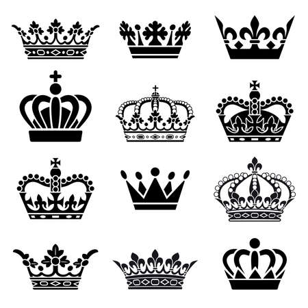 Set of 12 Crown Illustrations Vector