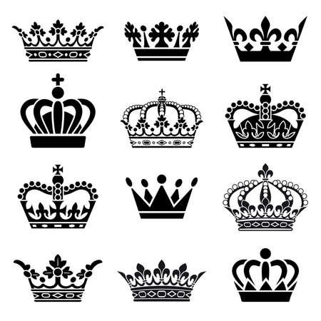 Set of 12 Crown Illustrations 向量圖像
