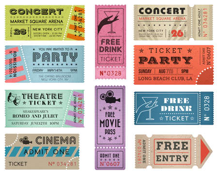 movie theater: A collection of 10 grunted Tickets