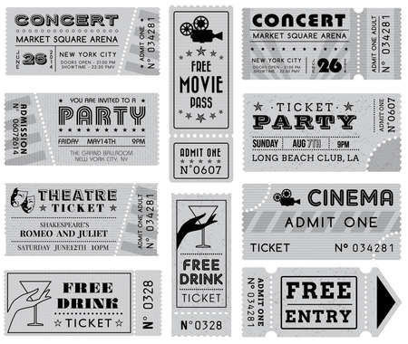 movie ticket: A collection of 10 vector grunted Grayscale Tickets