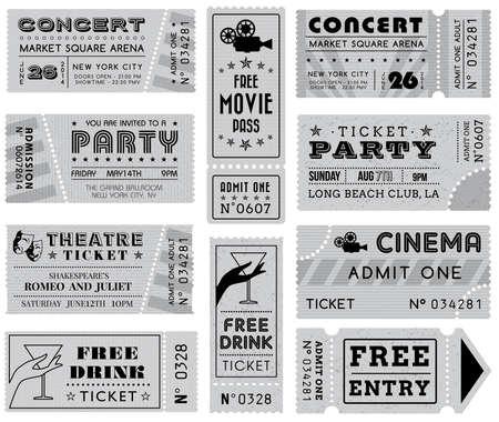 Eine Sammlung von 10 Vektor grunzte Graustufen Tickets