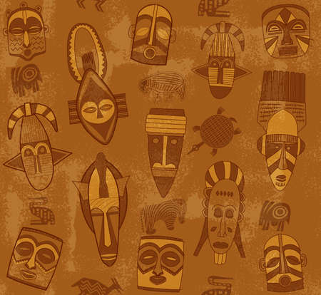 african mask: Tribal Mask Texture with Grunge Effect