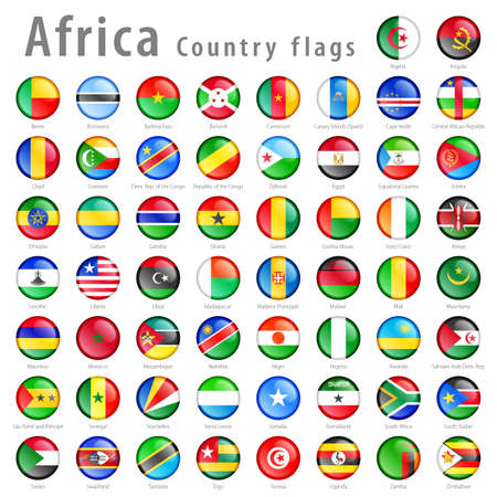 Hi detail vector shiny buttons with all African flags. Every button is isolated on its own layer Vector