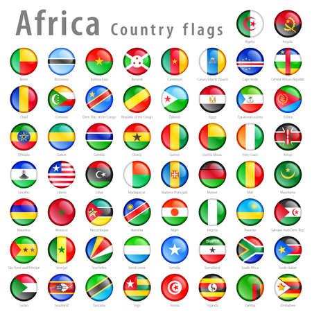 bandera de egipto: Hola detalle vector botones brillantes con todas las banderas africanas. Cada botón está aislado en su propia capa Vectores