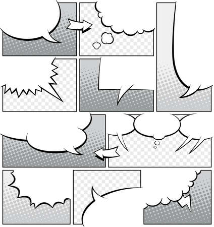 A high detail mock-up of a typical comic book page in greyscale, with various speech bubbles
