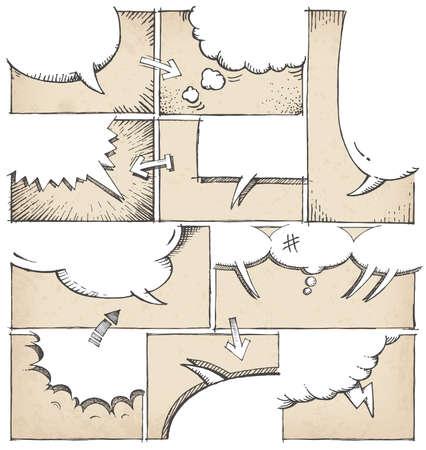 様々 なスピーチの泡と、鉛筆描き下ろしコミック ページの高い細部のモックアップ