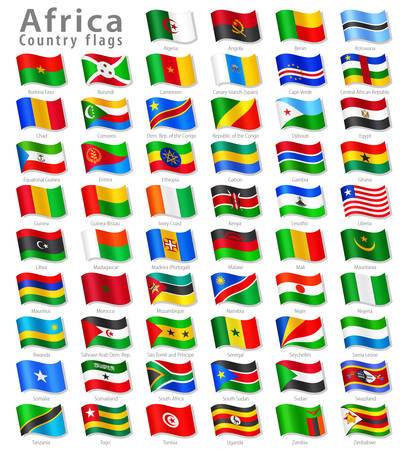 Collection of all African National Flags Ilustração