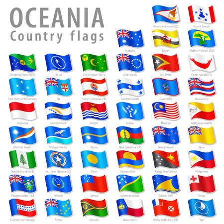 cocos: Vector Collection of all Oceanian National Flags, in simulated 3D waving position, with names and grey shadow. Every Flag is isolated on its own layer with proper naming.