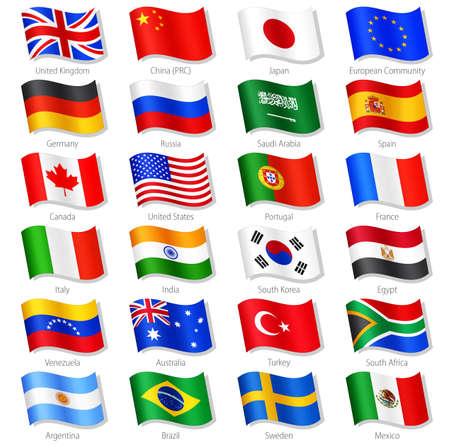 Vector collectie van 24 Top Wereld Landen Nationale Vlaggen, in gesimuleerde 3D zwaaien positie, met namen en grijze schaduw. Elke Vlag is geïsoleerd op een eigen laag met de juiste naamgeving.