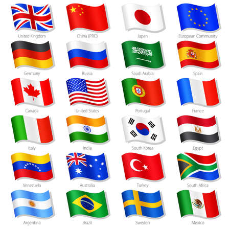 Vector Collection of 24 Top World Countries National Flags, in simulated 3D waving position, with names and grey shadow. Every Flag is isolated on its own layer with proper naming.