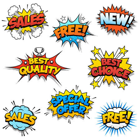 Set of Eight Cartoonish Graphic design for promotion of Product Sales, and generic ones like Free or New.