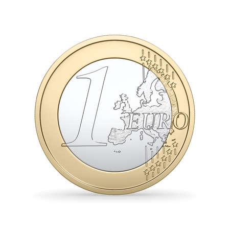 A High quality render of a 1 Euro coin  Stock Photo