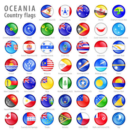 oceania: Hi detail vector shiny buttons with all Oceania flags  Every button is isolated on it