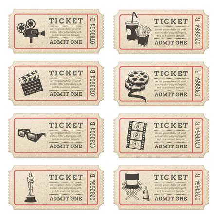 movie ticket: Eight hi quality vector cinema tickets  Each ticket is orgenized in 3 layers, separating background from art and text