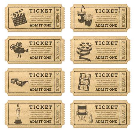 Acht hallo Qualität Vektor-Kinokarten Jedes Ticket ist in 3 Schichten orgenized, die Trennung von Kunst und Hintergrund-Text