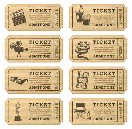 old movies: Eight hi quality vector cinema tickets  Each ticket is orgenized in 3 layers, separating background from art and text