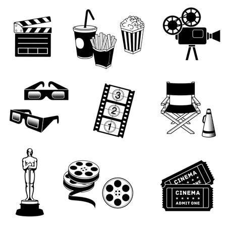 3 d glasses: Complete set of Cinema and movie related Vector icons