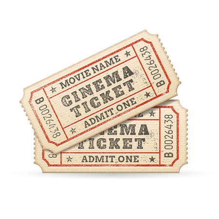 raffle ticket: Hi quality vector cinema tickets Composition  Each ticket is organized in 3 layers, separating background from art and text
