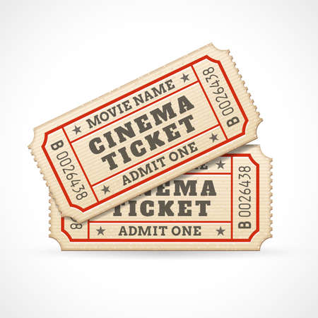 retro cinema: Hi quality vector cinema tickets Composition  Each ticket is organized in 3 layers, separating background from art and text