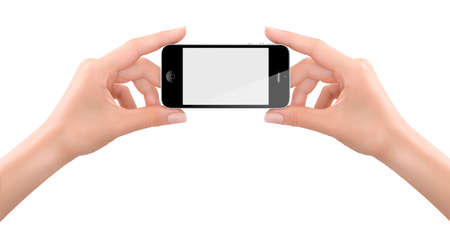Studio shoot of womans hands holding a generic smartphone with a white blank screen