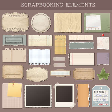 attach: Collection of various scrap books elements Illustration