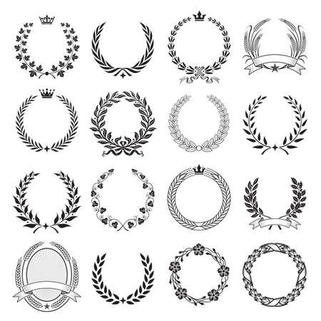 laurel wreath: A set of Nine High Detail Ceremonial Frames With Laurel Wreaths, leaves, Corn, wheat