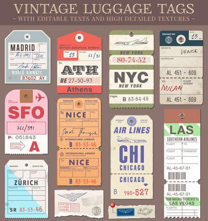 高詳細グランジ パスポートと荷物タグ、チケットや切手の設定ファイルは、EPS v 10 透明効果で組織されるファイル現在のベクトル ベクトル層のすべ
