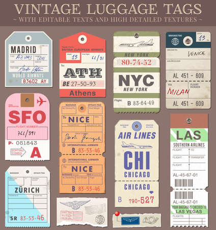 A set of high detail grunge Passport and Luggage Tags, Tickets and stamps Vector file is EPS v 10  Transparency effects are present Vector file is organised with layers, with every element separated from text elements to make editing easier  Vector