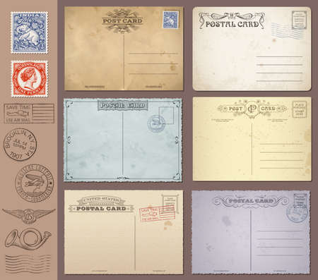 vintage postcard: A set of high detail grunge Vintage Postcards and Stamps  Vector file is EPS v 10  Transparency effects are present  Vector file is organised with layers