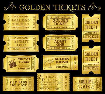 Set of eleven golden vector tickets and coupons templates  Vector file is organized in layers to separate Graphic elements from texture and text Zdjęcie Seryjne - 29911388