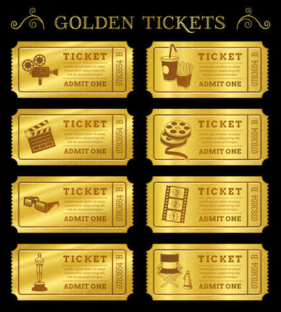 movie ticket: Set of eight golden vector cinema tickets and coupons templates  Vector file is organized in layers to separate Graphic elements from texture and text  Illustration