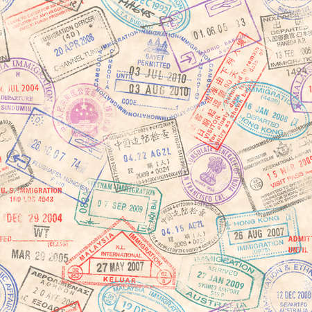 A seamless texture composed by passport stamps illustrations of a grunge paper background.