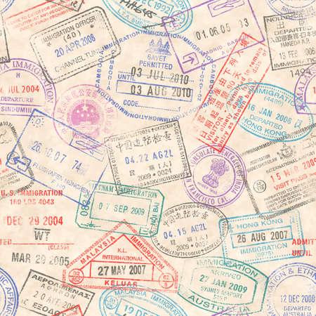 passaporto: Una trama senza soluzione di continuità composta da francobolli passaporto illustrazioni di uno sfondo di carta grunge.