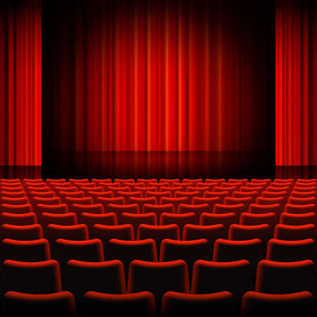 A high detail vector illustration of a Red Curtains Theater Stage. Illustration