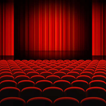 A high detail vector illustration of a Red Curtains Theater Stage, with Rounded Seats