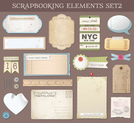 ripped paper background: Collection of various scrapbooking vector elements and Templates. Illustration