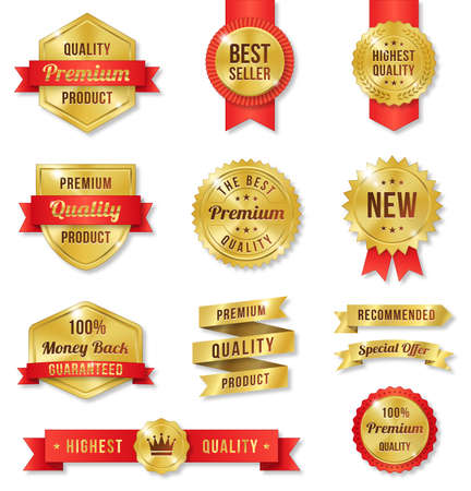 Set of twelve golden Commercial Labels and Ribbon templates Illustration