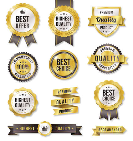 Set of eleven golden Commercial Labels and Ribbon templates Ilustração