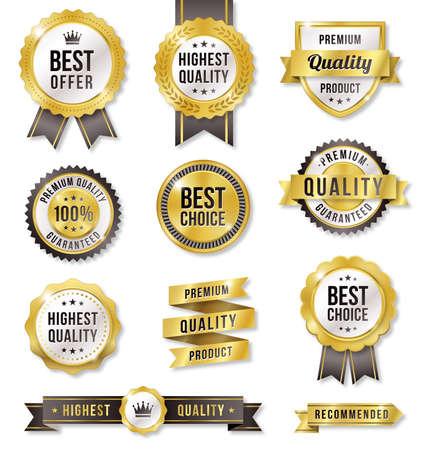Set of eleven golden Commercial Labels and Ribbon templates Illustration