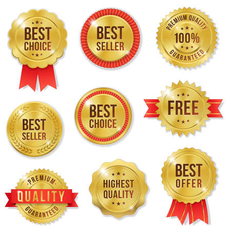 Set of nine golden Commercial Labels and Ribbon templates Stock Photo