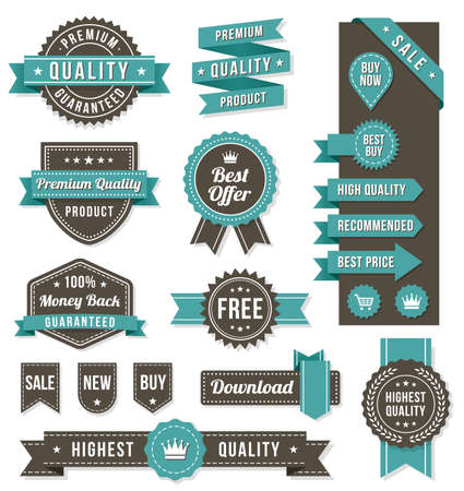 Set of eleven golden Commercial Labels and Ribbon templates and web elements