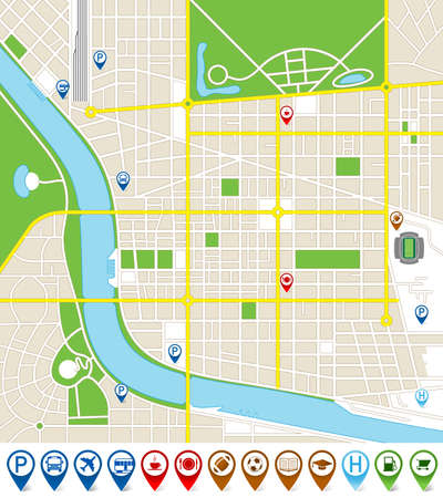 illustration of an imaginary city map with cute marker icons. All elements are isolated on different layers for ease of editing.