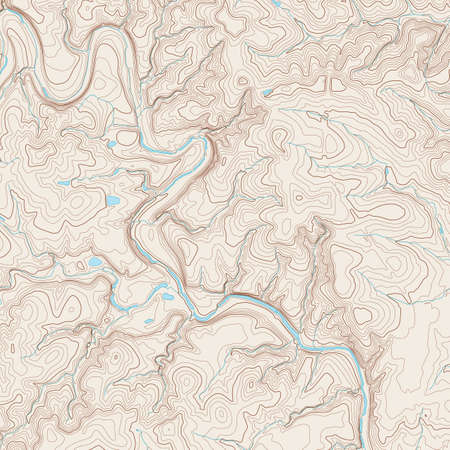 Realistic Topographic map of an area west of Austin, Texas. Vector map is layered with isolines, rivers, bodies of water and background on different layers.