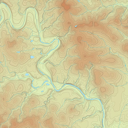 physical geography: Realistic Topographic map of an area west of Austin, Texas. Vector map is layered with isolines, rivers, bodies of water and background on different layers.