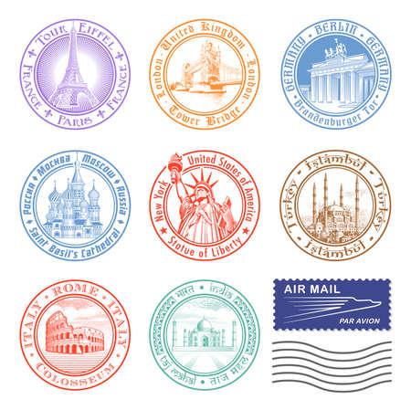 timbre postal: Sellos de los monumentos m�s importantes de todo el mundo.