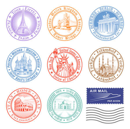 passport stamp: Stamps of major monuments around the world.